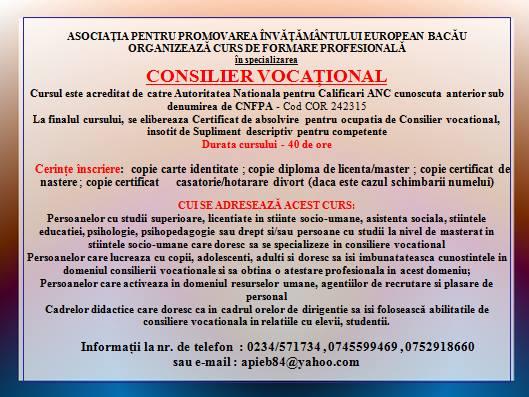 *CONSILIER VOCATIONAL*- Curs de formare profesionala